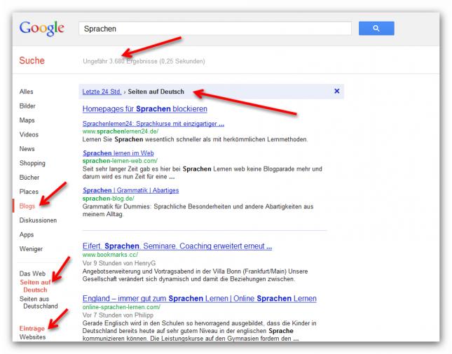 Nischenseiten-Challenge Google Blogsuche