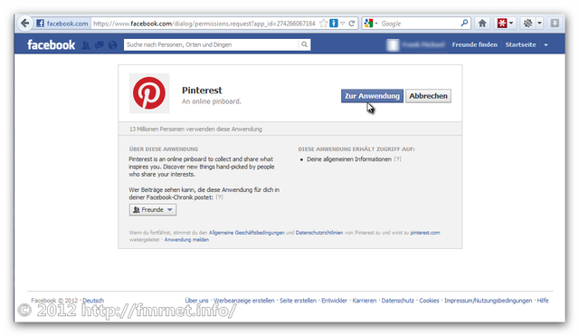 Pinterest-Signup über Facebook