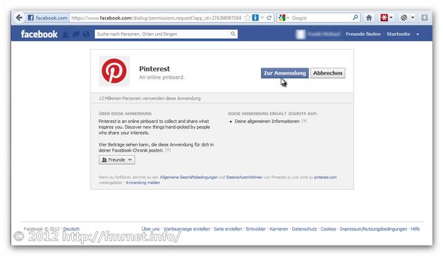 Pinterest-Signup über Facebook