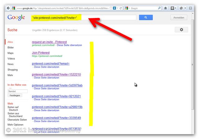 Google-Suche von Pinterest-Einladungsseiten